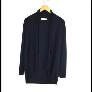 Zara Knit Navy Open Front Cardigan